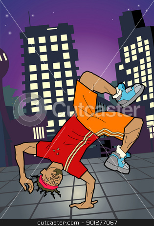 Breakdancer illustration stock vector clipart, a breakdancer breakdancing. Vector art in Adobe Illustrator 8 EPS format. Can be scaled to any size without loss of quality.  by Christos Georghiou