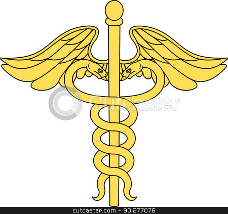 caduceus illustration stock vector clipart, a caduceus medical symbol  by Christos Georghiou