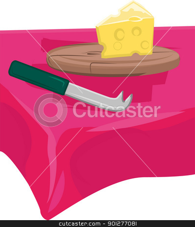 cheese board stock vector clipart, cheese, cheese knife and cutting board on table.  by Christos Georghiou