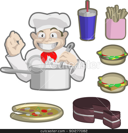 chefs and food stock vector clipart, A chef and some food!  by Christos Georghiou