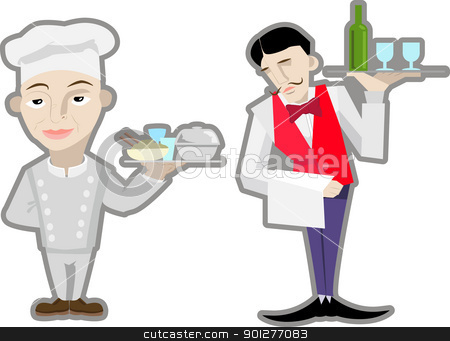 chefs  stock vector clipart, A vector waiter and chef.  by Christos Georghiou