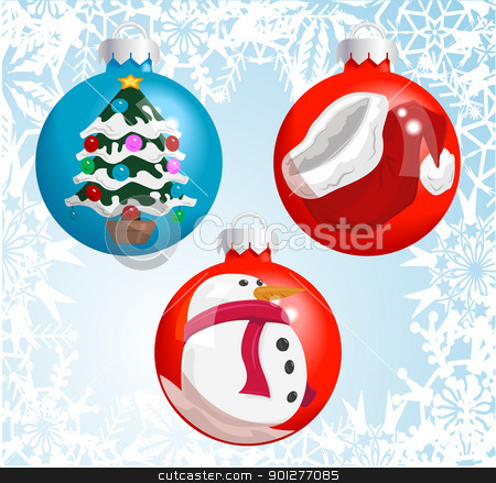 Christmas baubles stock vector clipart, Christmas baubles with pictures of a Santa hat, snowman, and Christmas tree reflected or painted on them!  by Christos Georghiou