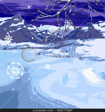 christmas scene stock vector clipart, A snowy winter scene, brach and snow flakes on seperate layers so can be removed if wanted.  by Christos Georghiou