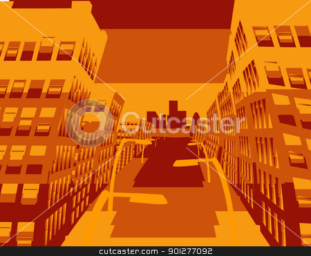 cool cityscape stock vector clipart, an abstract illustration of a city street  by Christos Georghiou