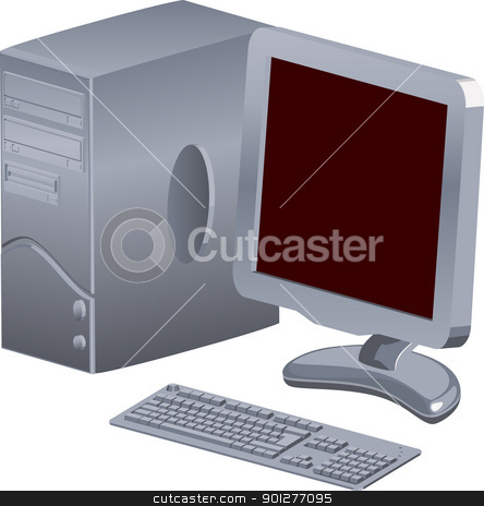 computer illustration stock vector clipart, a computer with tft  by Christos Georghiou