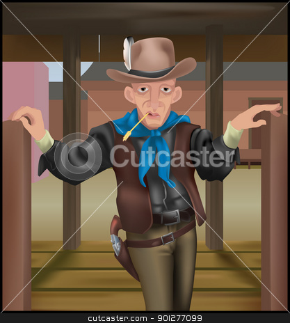 cowboy illustration stock vector clipart, A cowboy coming through some swing doors. Clothing and gun make extensive use of gradient meshs.  by Christos Georghiou
