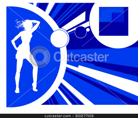 Dancer and background stock vector clipart, Woman in silhouette dancing, with background.  by Christos Georghiou