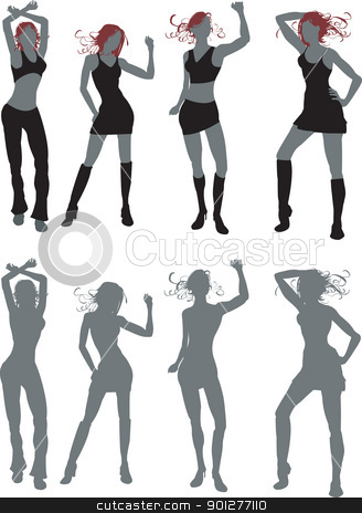 dancing people stock vector clipart, Illustrations of four young women dancing, work great in silhouette or in simple colours. Both included  by Christos Georghiou