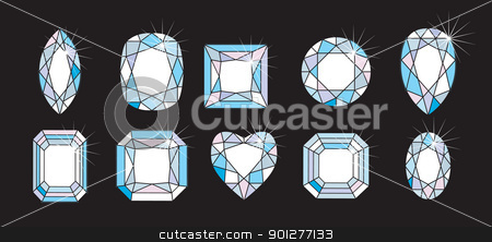 Diamond Cuts and shapes  stock vector clipart, Diamond Cuts and shapes  by Christos Georghiou