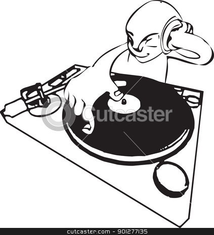 funky dj illustration stock vector clipart, A a funky dj mixing.  by Christos Georghiou