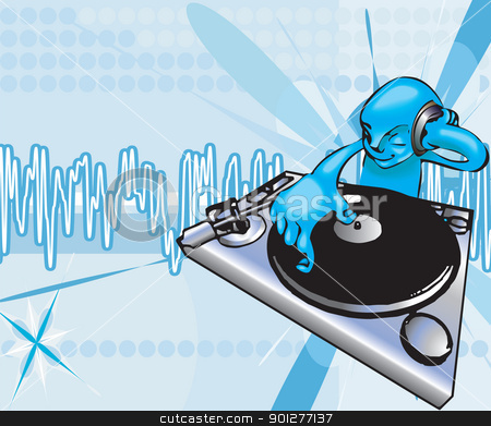 funky dj illustration stock vector clipart, A funky dj mixing with background on separate layer. No meshes used, all blends or gradients.  by Christos Georghiou