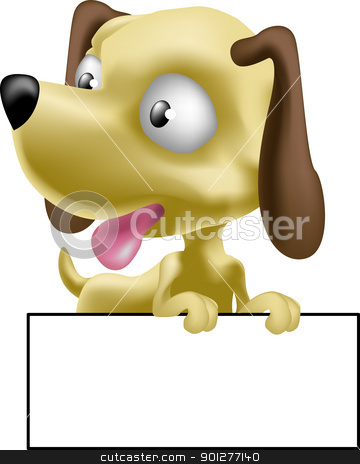 dog illustration stock vector clipart, a cute puppy dog with sign for you to write whatever you wish on  by Christos Georghiou