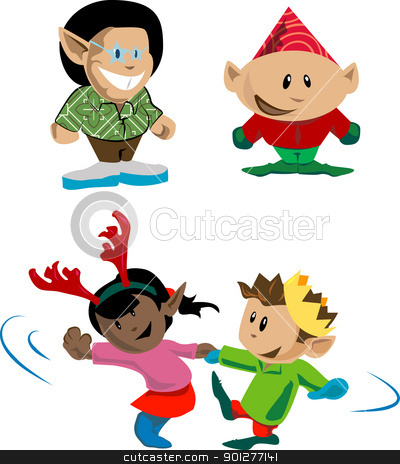 christmas elves and pixies stock vector clipart, Elves and pixies having holiday fun  by Christos Georghiou