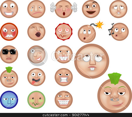 emoticons icon set stock vector clipart, a set of emoticons  by Christos Georghiou