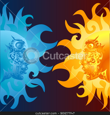 faces illustration stock vector clipart, two opposing faces one blue and one yellow/ orange  by Christos Georghiou