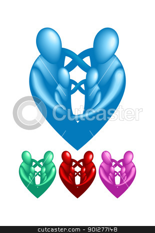 A loving protective family forming a heart shape.  stock vector clipart, A loving protective family forming a heart shape.  by Christos Georghiou