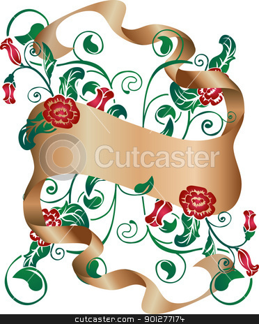 floral background stock vector clipart, Floral design element with scroll  by Christos Georghiou