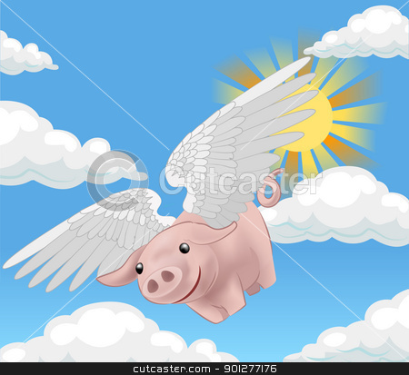 flying pig illustration stock vector clipart, a flying pig  by Christos Georghiou