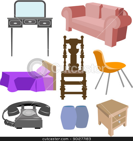 furniture set stock vector clipart, A selection of furniture  by Christos Georghiou