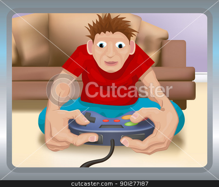 gamer illustration stock vector clipart, A boy playing on a games console.  by Christos Georghiou