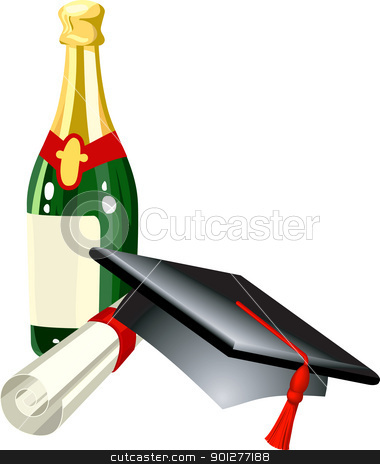 graduation illustration stock vector clipart, Graduation celebration related items; mitre cap, champagne and diploma, in vector file each is on a different layer for easy positioning  by Christos Georghiou