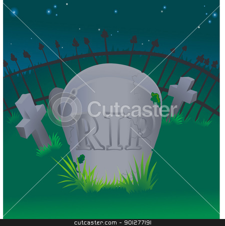 grave illustration stock vector clipart, a tombstone in a graveyard  by Christos Georghiou
