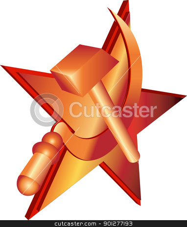 hammer and sycle stock vector clipart, Vector hammer and sickle, communist symbol.  by Christos Georghiou