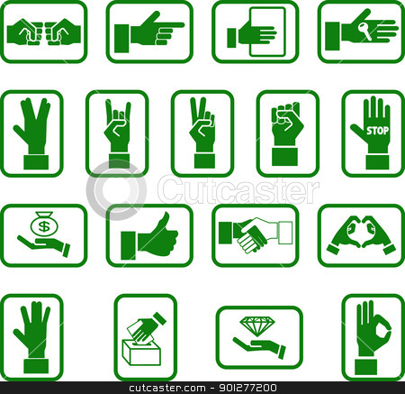 hands icon set stock vector clipart, Various hand icons.  by Christos Georghiou
