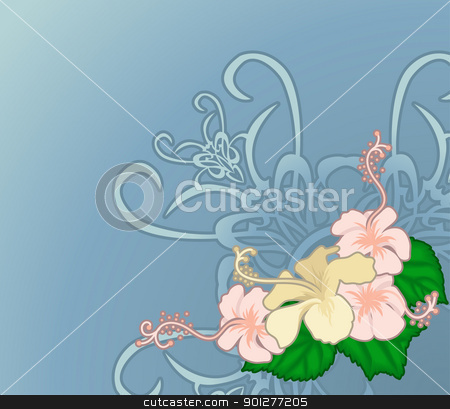 hibiscus illustration stock vector clipart, floral design element  by Christos Georghiou