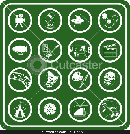 hobbies icon set stock vector clipart, Hobbies and entertainment icons.  by Christos Georghiou