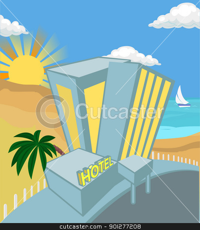 hotel illustration stock vector clipart, hotel on a beach  by Christos Georghiou