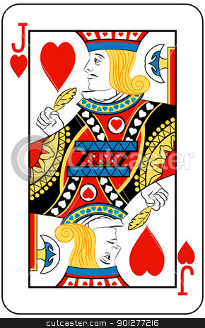 jack of hearts stock vector clipart, Jack of Hearts playing card by Christos Georghiou