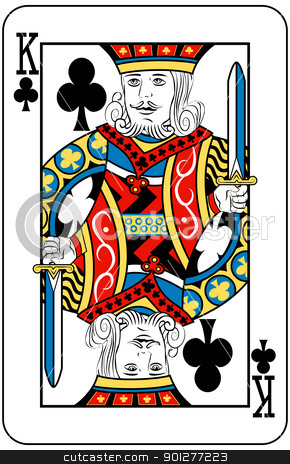 king of clubs stock vector clipart, King of Clubs playing card by Christos Georghiou