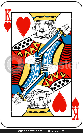 king of hearts stock vector clipart, King of Hearts playing card by Christos Georghiou