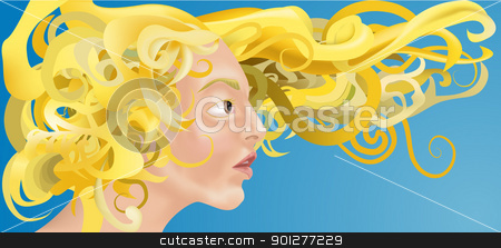 woman with beautiful hair stock vector clipart, a beautiful woman with curly blonde hair blowing in the wind.  by Christos Georghiou