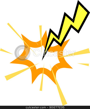 lightning strike stock vector clipart, A Lightning striking  by Christos Georghiou