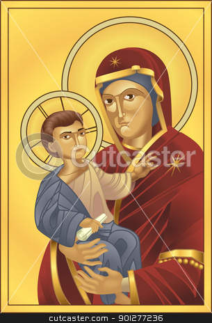 Virgin Mary and Jesus Christ stock vector clipart, The Virgin Mary and Jesus Christ, all blends and gradients no meshes. by Christos Georghiou