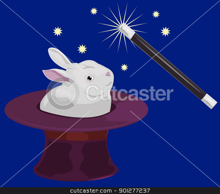 that's magic stock vector clipart, A rabbit appearing out of a tophat and a magic wand  by Christos Georghiou