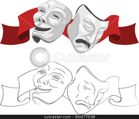 Theatre comedy and tragedy masks stock vector clipart, Theatre comedy and tragedy masks.  by Christos Georghiou