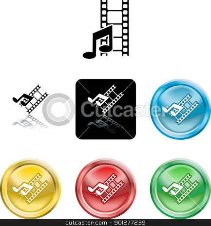 Movie and music media icon stock vector clipart, Several versions of an icon symbol of stylised music note and movie film    by Christos Georghiou