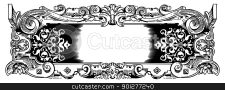 Woodblock style vintage frame stock vector clipart, Vintage frame inspired by rococo or baroque style design by Christos Georghiou