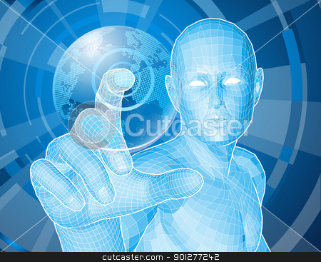 Future man globe selection concept stock vector clipart, Corporate style background concept. Futuristic blue figure selecting a floating world globe. by Christos Georghiou