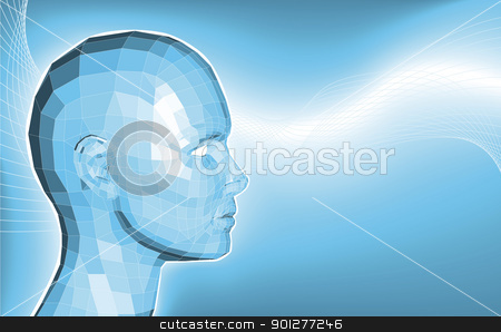 Futuristic 3d face business background stock vector clipart, A futuristic blue business background featuring an avatars face made of polygons by Christos Georghiou