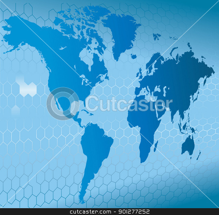 dynamic 3d world map with background stock vector clipart, A dynamic 3d world map with background.  by Christos Georghiou