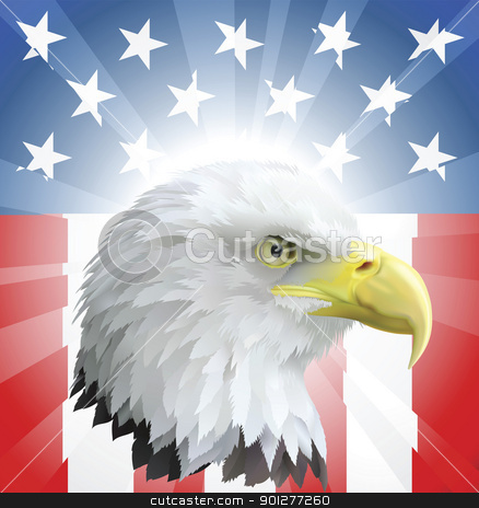 Patriotic American Eagle and Flag stock vector clipart, A background featuring American eagle and stars and stripes background by Christos Georghiou