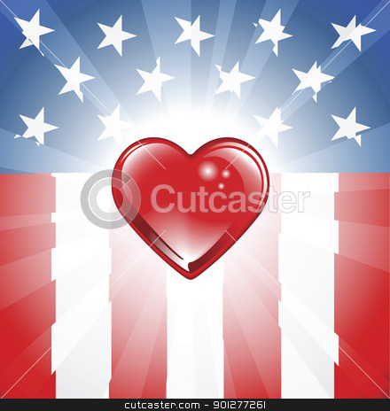 Patriotic Heart Background stock vector clipart, A background featuring Heart shape and stars and stripes background by Christos Georghiou
