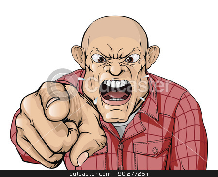 Angry man with shaved head shouting and pointing stock vector clipart, An angry man with shaved head shouting and pointing by Christos Georghiou
