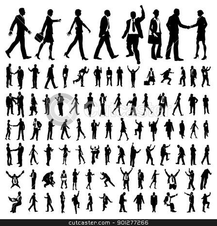Very many high quality business people silhouettes stock vector clipart, Very many high quality business people silhouettes by Christos Georghiou