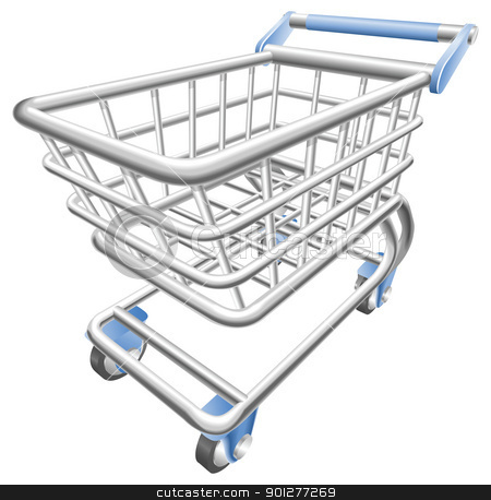 A shiny shopping cart trolley vector illustration  stock vector clipart, A shiny shopping cart trolley vector illustration with dynamic perspective. Can be used as an icon or illustration in its own right. by Christos Georghiou