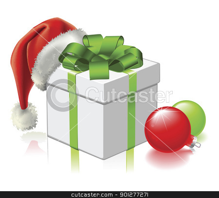 Christmas gift with Santa Hat and Baubles stock vector clipart, A Christmas gift with Santa hat and baubles by Christos Georghiou